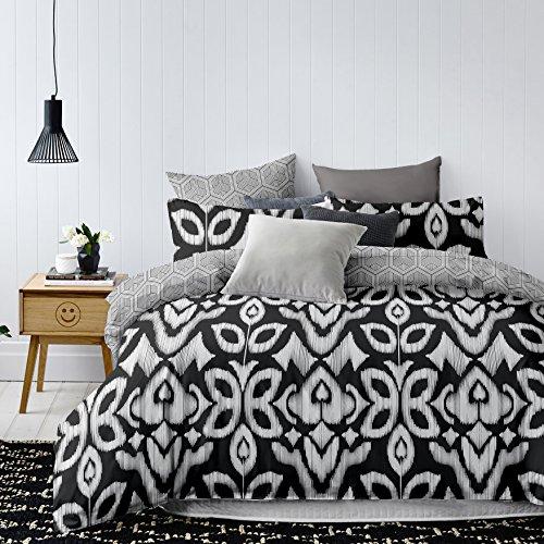 DecoKing 85172 135x200 cm mit 1 Kissenbezug 80x80 schwarz weiß grau anthrazit graphit stahl geometrisches Muster Bettbezüge Microfaser Hypnosis Mezmerize Bettwäsche, Polyester, 135x200
