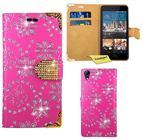 FoneExpert® HTC Desire 728G Handy Tasche, Bling Diamant Hülle Wallet Hülle Cover Hüllen Etui Ledertasche Premium Lederhülle Schutzhülle für HTC Desire 728G