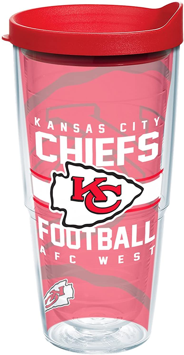 Tervis 1180514 NFL Kansas City Chiefs Gridiron Tumbler with Wrap and Red Lid 24oz, Clear
