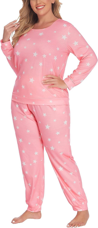 IN'VOLAND Womens Plus Size Pajama Sets Long Sleeve Sleepwear Star Print Pajamas Soft Lounge Sets with Pockets