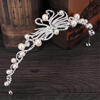FELICILII Copricapo da Sposa Perla Corona da Principessa Corona da Sposa con Strass Accessori da Sposa Corona
