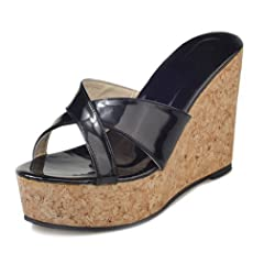 6d35383dd80 Criss cross wedge thong slip on sandals - Mules   Clogs - Casual ...