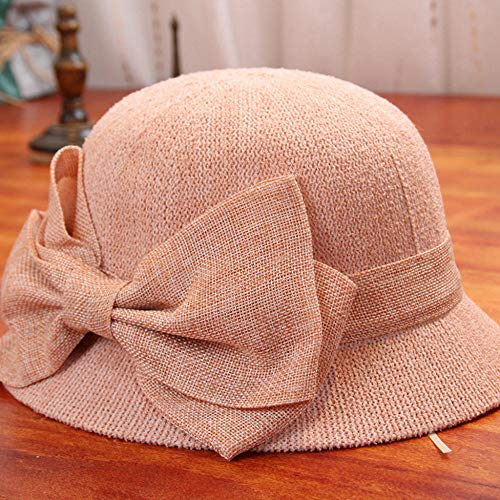 Sonnenhut Strohhut Hut Damen Hut Frau Einfarbig Strand Sonne Hut Weichen Fischer Hut Reise Panama Eimer Hut-Pink