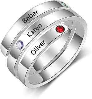 Personalized Mothers Rings for 3 Simulated Birthstones BFF Wrap Name Rings for Women Free Engraving Sisters Friends Rings for Girl Birthday Gift
