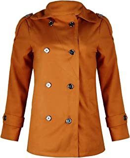 Dawwoti Women's Double Breasted Coat Solid Color Woolen Casual Outwear