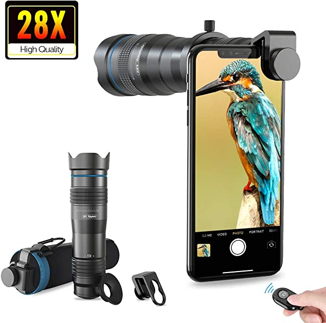 Apexel HD Cell Phone Lens-28X  - Teleobjetivo con obturador para iPhone Samsung Huawei Xiaomi teléfono inteligente Android telescopio monocular