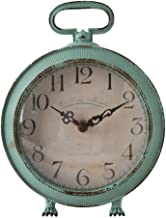 NIKKY HOME Table Clock Vintage Metal Round Desk Clock with Handle and Dragon Feet Stand for Home Living Room Bedroom Decor 5.6'' by 2.2'' by 7.5'', Distressed Aqua Blue