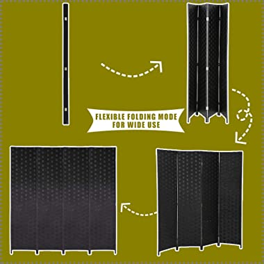Wood Screen Folding Screen Room Dividers 4-Panel Mesh Woven Design Privacy Room Partition Wooden Screen