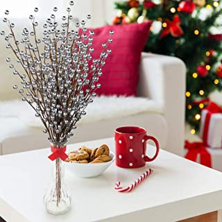 24 Artificial Berry Stem Picks - Decorative Wire Stem Branch Sprays for Christmas Tree Decoration, Holiday Décor, Silk Flower Arrangements and Home DIY Crafts, 35 Berries on each Stem , Silver Berries