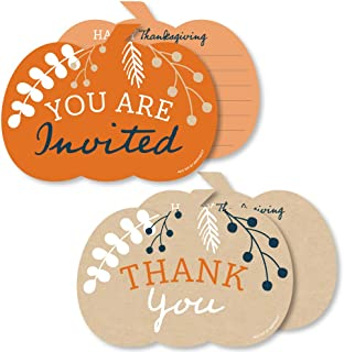 Big Dot of Happiness Happy Thanksgiving - 20 Shaped Fill-In Invitations and 20 Shaped Thank You Cards Kit - Fall Harvest Party Stationery Kit - 40 Pack