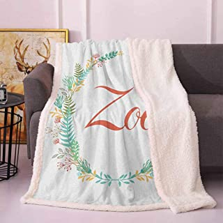 Zoe Blankets for Kids Blossoming Nature Design Foliage Leaves Silhouette Baby Girl Name Arrangement Wreath Bed Blanket Multicolor 50