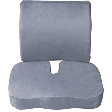 BESTHLS Seat Cushion Coccyx Orthopedic Memory Foam and Lumbar Support Pillow for Office Chair, Car, Wheelchair,Set of 2, Gray