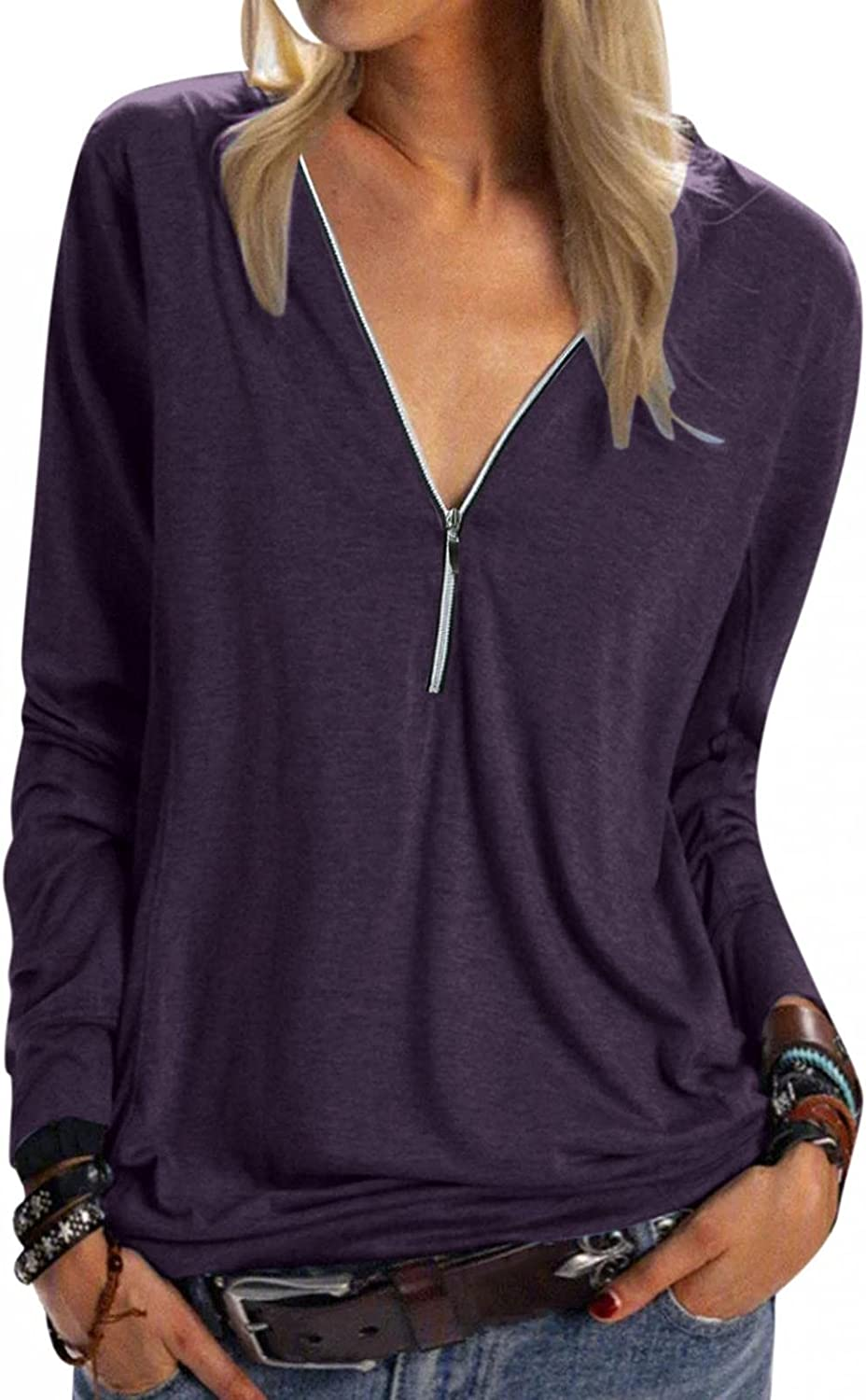 ManxiVoo Women's Zipper V Neck Complete Free Shipping Plus Top Indefinitely Pullover Solid Size Long