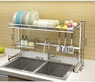 Drainer Dish Rack Kitchen Sink Shelf Spice Knife Holder Chopsticks Plate Tableware Holder Drain Basket Drying Rack, Length 86cm (Size : D)