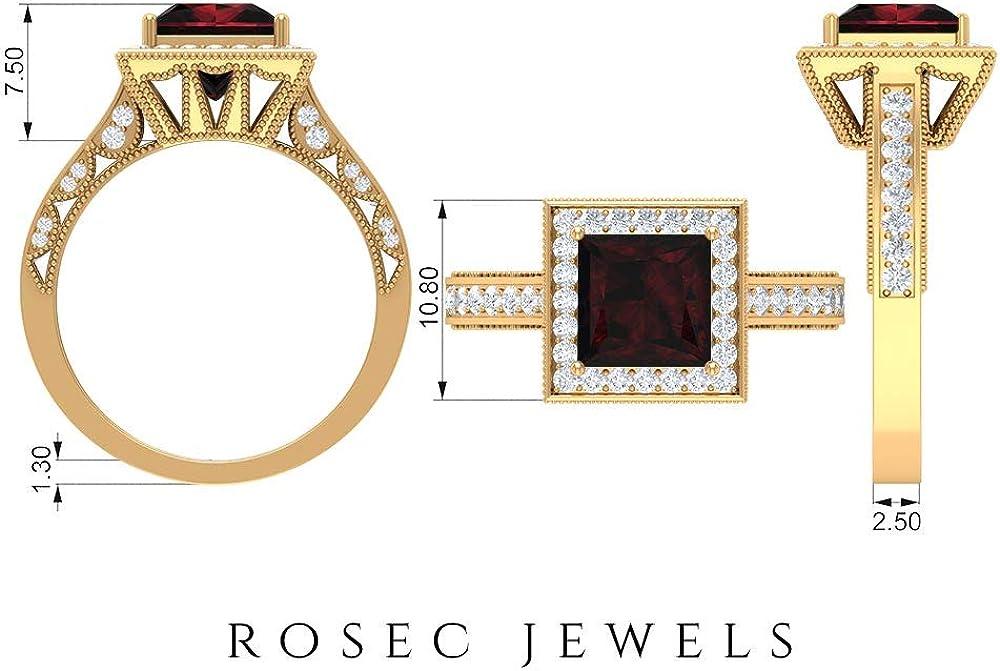2 CT Solitaire Garnet Ring, 1/2 CT D-VSSI Moissanite Halo Engagement Ring, Gold Beaded Engraved Ring (7 MM Princess Cut Garnet), 14K Gold