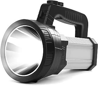 Super Bright LED Handheld Spotlight Heavy Duty Flashlight Rechargeable 10000mAh 6000 Lumens Long Lasting Spot Light Searchlight CREE Waterproof Tactical Torch, 5 Light Modes Side Floodlight (Silver)
