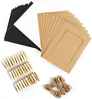 iManson 30PCS Photo Frame, Paper Picture Frames Mats with Mini Wooden Clips and String Hanging Cardboard Picture Frame Set for Home Room Wall Decor DIY