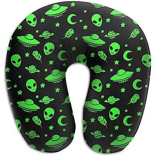 Almohadas De Memoria De Viaje,Green Alien Moon Spaceships Planet Black Suave Y Cómoda Almohada En Forma De U para Aviones Descanso para Viajes