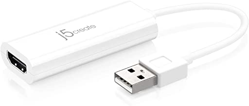 USB to HDMI Adapter by j5create - Multi-Monitor Display Video Card Converter Cable | 1080p HD Playback | Cord is Compatible with Windows 10, 8.1, 8, 7, XP, and Mac OS - White