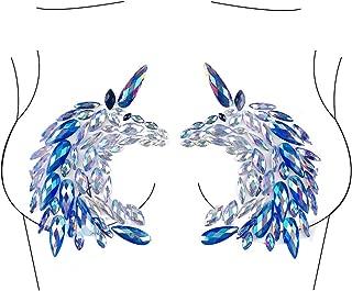 Glitter Unicorn Body Jewels Rave Festival Rhinestone Face Body Jewelry Stick On Crystal Tattoo Nipple Chest Crystal Body Gem Stones Stickers - Blue