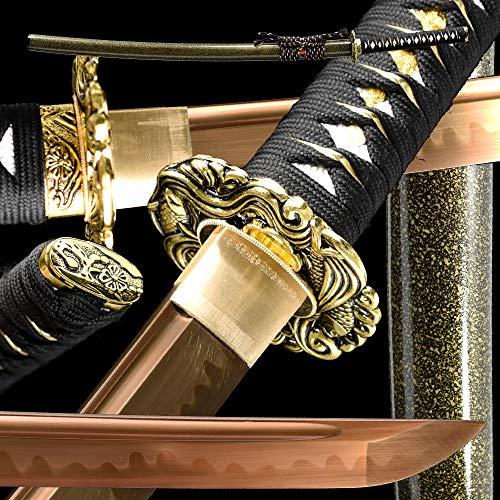 Japanese Samurai Sword Katana Full Handmade,Golden,T10High Carbon Steel Heat Tempered/Full Tang,1095 /High Carbon Steel/Heat Tempered/Clay Tempered/Razor Sharp