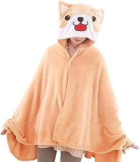 CORIRESHA Cute Coral Celvet Long Sleeve Shiba Inu Dog Home Wear Clothes Hoodie Sweatshirt with 3D Dog Ear and Dog Tail