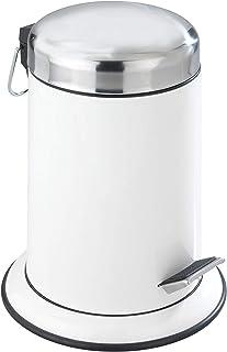 WENKO Poubelle à pédale Retoro blanc - Poubelle cosmétique, Capacité: 3 l, Acier inoxydable, 22 x 30.5 x 22 cm, Blanc