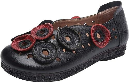 ZHRUI ZHRUI Nouveau Mocassins Plats Vintage pour Femmes évider Chaussures en Cuir Occasionnels (Couleuré   Noir, Taille   5 UK)