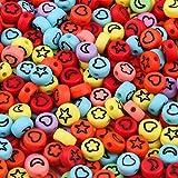 HJKND Cuentas de acrílico con Letras de Colores Mezclados, Cuentas espaciadoras Sueltas Redondas y Planas de Alfabeto para Hacer Joyas, Accesorios de Pulsera Hechos a Mano