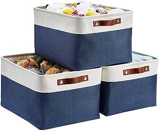 Mangata Lot de 3 boîtes de Rangement en Tissu, paniers de Rangement Pliables, Organisateur de Placard pour étagère Chambre...