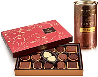 Godiva Chocolatier Dark Chocolate Hot Cocoa & Assorted Chocolate Biscuit Gift Set, Hot Cocoa, Hot Chocolate Mix, Hot Beverages, 23.9 Ounce