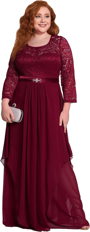Victorian Plus Size Dresses | Edwardian Clothing, Costumes Ever-Pretty Womens Autumn Lace Long Sleeve Chiffon Plus Size Bridesmaid Dress 0759  AT vintagedancer.com