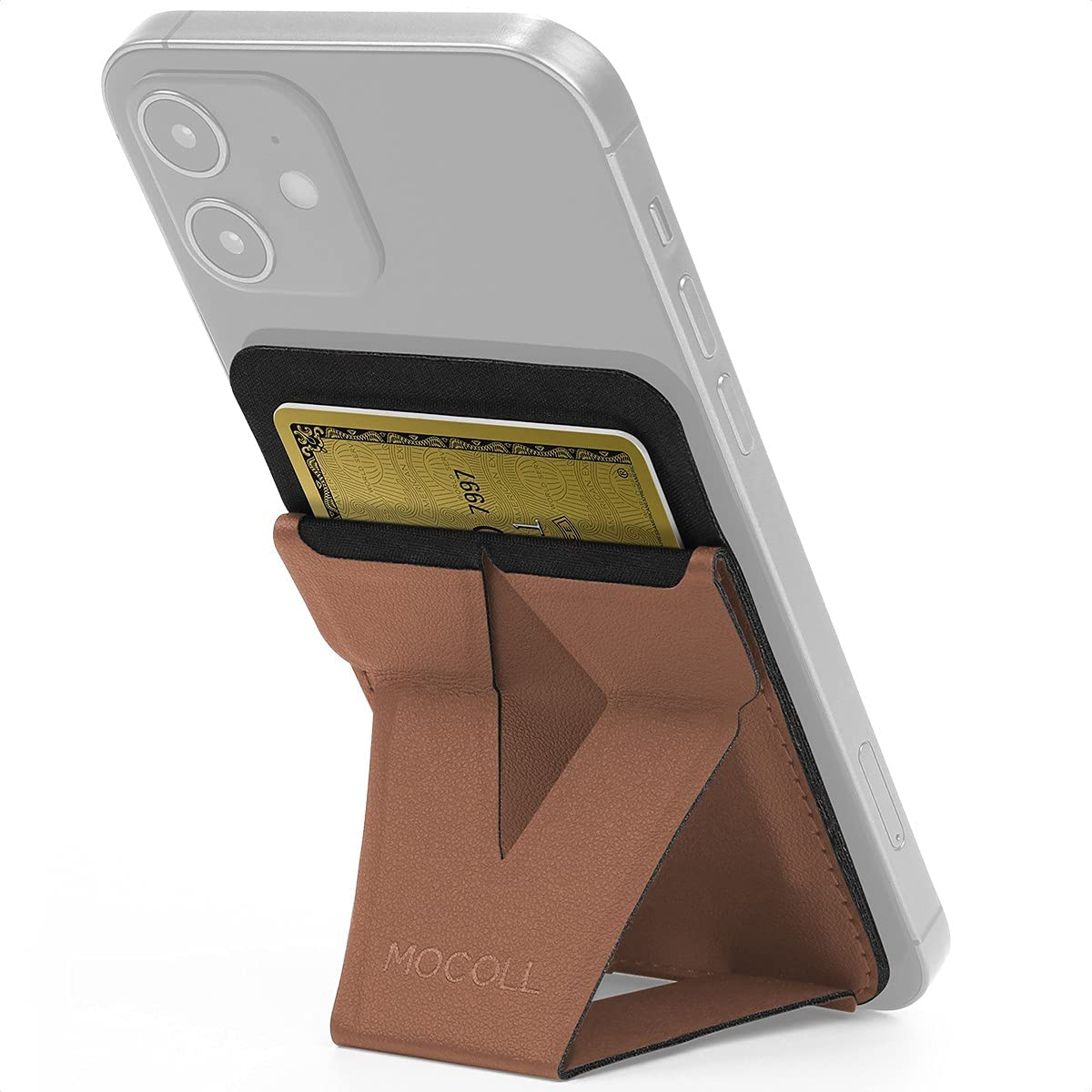 MOCOLL Magsafe Wallet Stand Magnetic Phone Card Holder Grip Compatible for iPhone 12 12 Mini 12 Pro 12 Pro Max (Desert Brown)