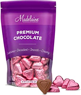 Madelaine Solid Premium Milk Chocolate Mini Hearts - Valentines Candy - Individually Wrapped In Italian Foil (Pink Candy, 1 LB)