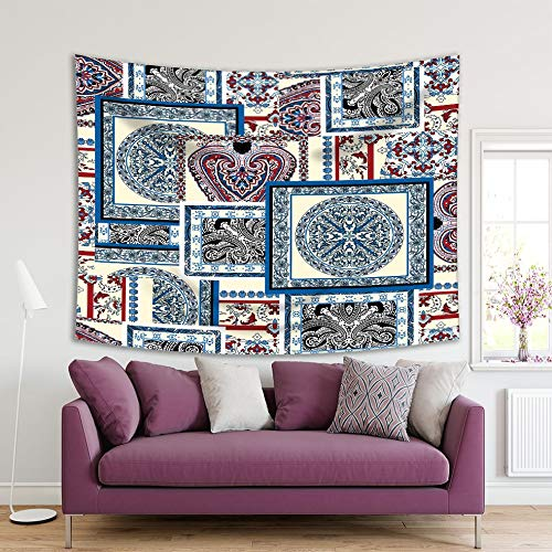 Henge Home Patchwork Impreso Tapiz/Tapiz para la habitación del hogar Dormitorio Dormitorio decoración Duradera Pared Colgante mot