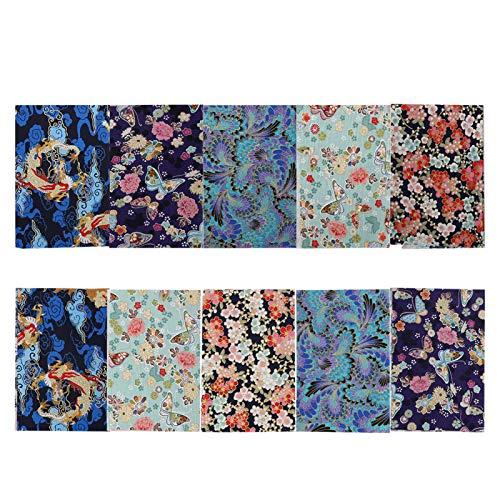 10 piezas de tela de algodón por yarda, paquete de tela para acolchar bronceado estilo japonés estampado Patchwork DIY costura Scrapbooking