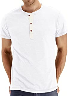 Men's T-Shirt New Short-Sleeved Casual Button Top Summer Clothes