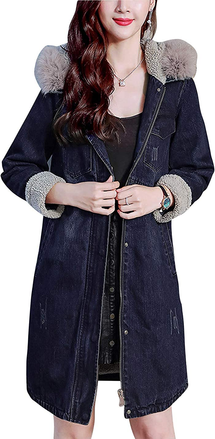 Omoone Women's Ripped Fleece Lined Faux Fur Hooded Mid Long Denim Jean Overcoat