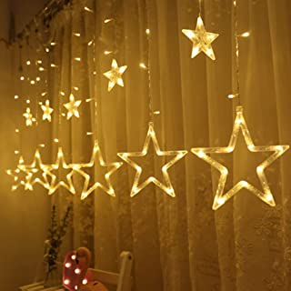 Twinkle Star 12 Stars 138 LED Curtain String Lights, Window Curtain Lights with 8..
