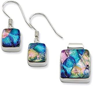 Lex & Lu Sterling Silver Pink & Blue Dichroic Glass Square Earring & Pendant Set