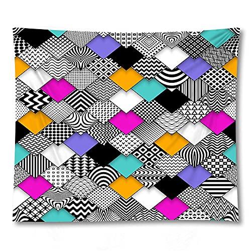 PPOU Arazzo geometrico appeso a parete coperta bohemien rombo rettangolo decorazione murale sfondo arazzo di stoffa A12 73x95 cm