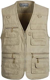 Casual vest Gilet Multi-Poches pour Hommes//Gilet Veste en Coton P/êche en Plein air Surv/êtement de Camping sans Manches,Blue,2XL