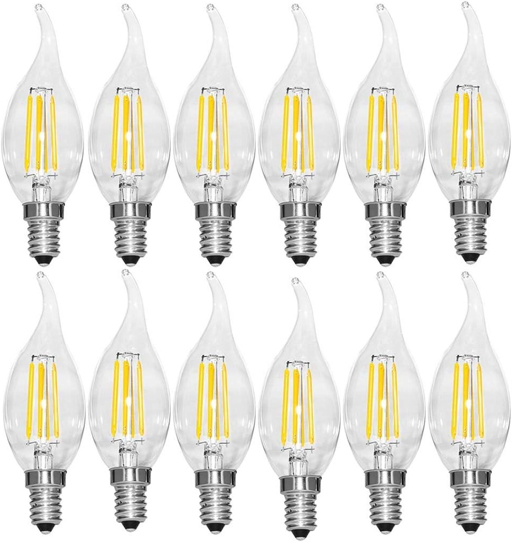 LED-Notleuchte E14 Edison Candle Light Bulbs Vintage, LED-Glühbirne, 2200-6500K Glühbirnen Energiesparlampe, nicht dimmbar, Klarglas, 12er-Pack Lichtquelle (Capacity   6w-110v-2700K)