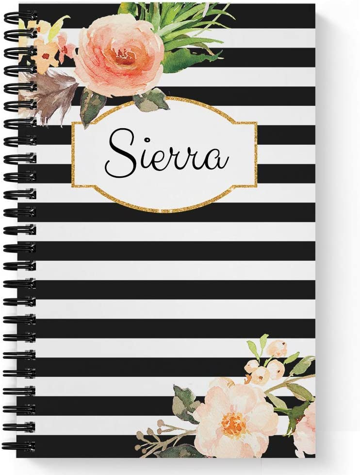Laminated Soft Cover Watercolor Abstract Monogram Personalized NotebookJournal lay flat wire-o spiral. choice of size and paper