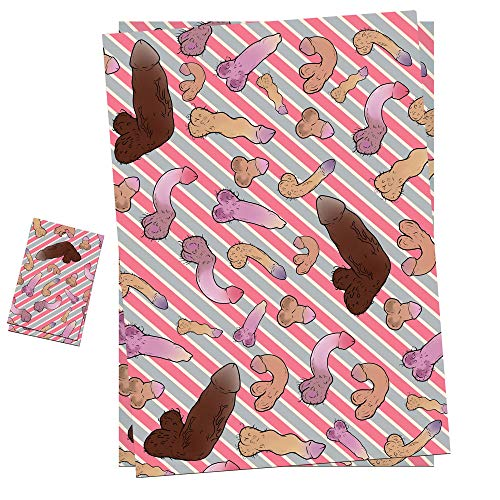 Geschenkpapier Penis, 2 Sheets + 2 Gift Tags