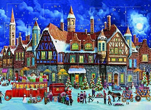 Calendrier de lAvent traditionnel - Maisons de Noël et neige