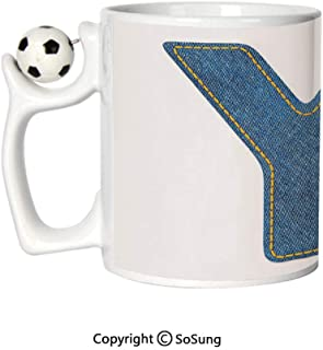 Letter Y Sports Football Mug,ABC of Vintage Fashion Theme Jeans Fabric Denim Texture and Uppercase Y Image Decorative Ceramic Coffee Cup,Blue Yellow,Great Novelty Gift for Kids & Audlt