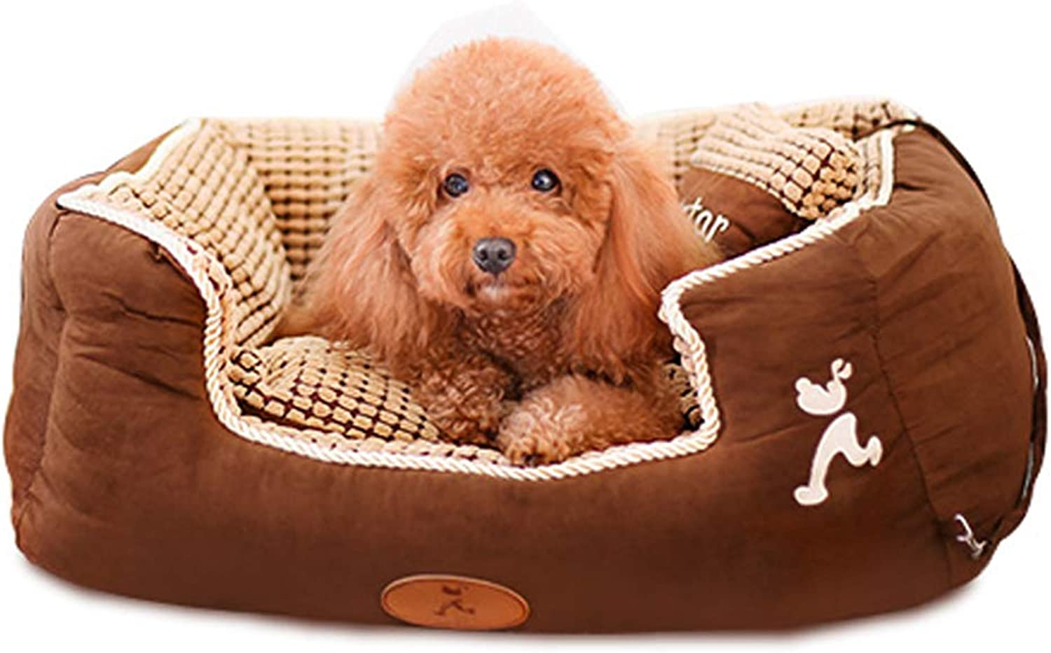 Dog Bed, Winter Keep Warm Soft Waterproof Washable Not Sticky Hair Pet Basket Mat Cushion with Pillow Small Medium Large XL (Size   L)