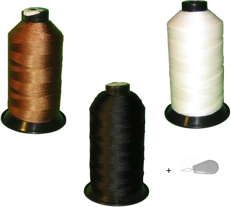 Bonded Nylon Sewing High quality Thread Set of Excellent Brown Black 3 Spools White