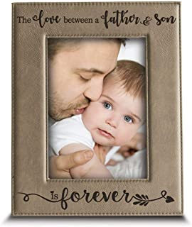 BELLA BUSTA- The Love Between a Father and Son is Forever from Son-Dad Gifts- Engraved Leather Picture Frame(4